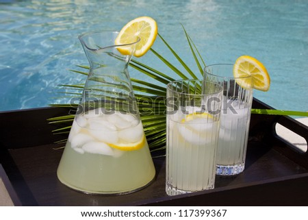 Cold drinks by the pool