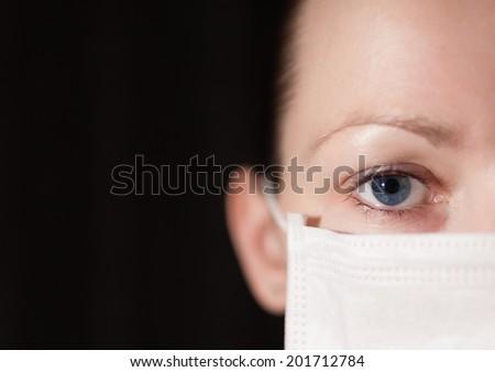 Cold flu illness women in medicine health care mask. - stock photo
