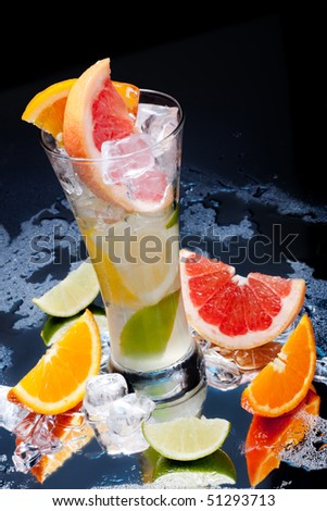 cold fresh citrus fruit drink - stock photo
