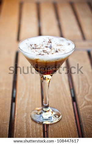 Cold fresh cocktail coffee served on restaurant table