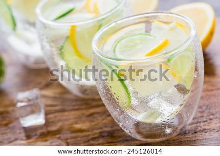 Cold fresh lemonade - stock photo