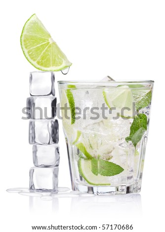 Cold fresh lemonade. Ice cubes and glass on a white background. - stock photo