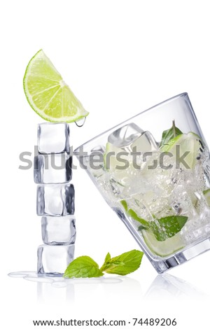 Cold fresh lemonade. Ice cubes and glass on a white background and with soft shadow.