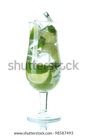 cold fresh lemonade isolated on white