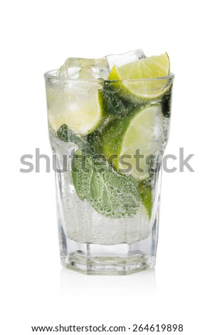 cold fresh lemonade. Isolated on white background - stock photo