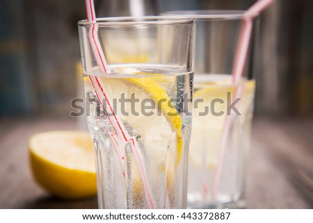 cold fresh mineral water in transparent glass with lemon