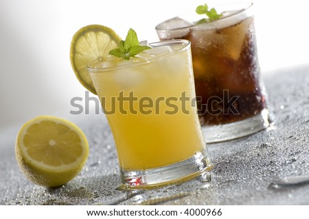 cold fresh yellow drink close up shoot - stock photo