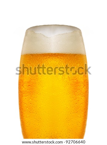 Cold glass of beer close up - stock photo