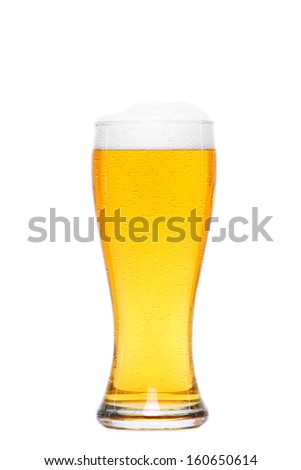 cold glass of beer with drops of water - stock photo