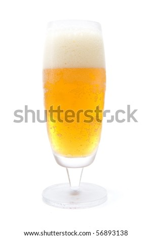 Cold Glass with golden and tasty beer .