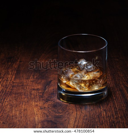 Cold glass with whiskey