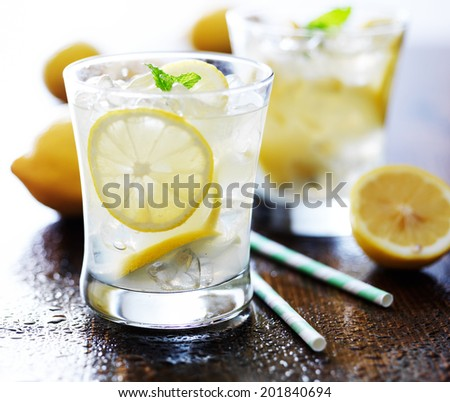 cold glasses of fresh lemonade - stock photo