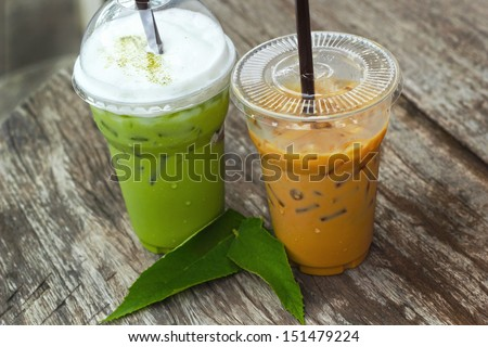 Cold green tea and Iced coffee - stock photo
