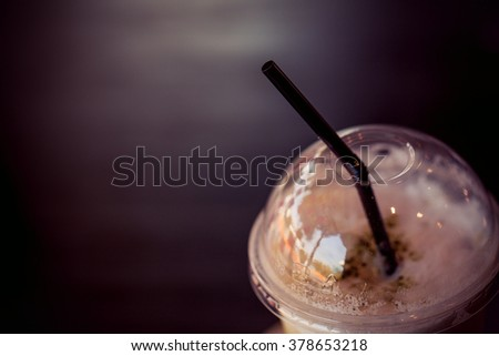 Cold green tea  in coffee shop. - stock photo