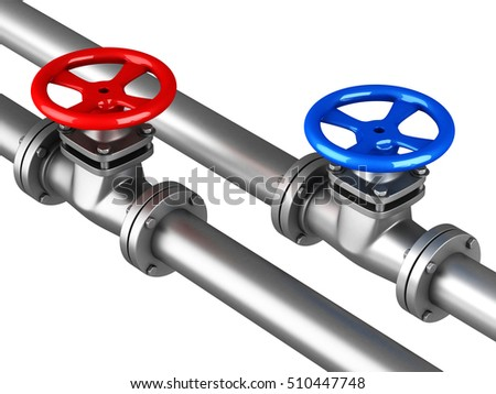 Cold hot water pipelines with red blue valves on white background. 3d render illustration