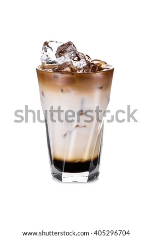 Cold Latte with ice on the white background - stock photo
