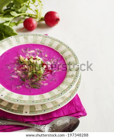 Cold Latvian soup. Vegetable cold soup with beetrots. - stock photo