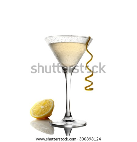 cold lemonade and a martini in a glass on a white background  - stock photo