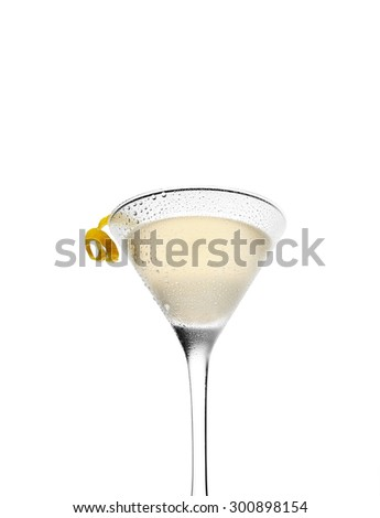 cold lemonade and a martini in a glass on a white background