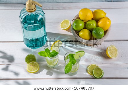 Cold lemonade with mint leaf in sunny garden