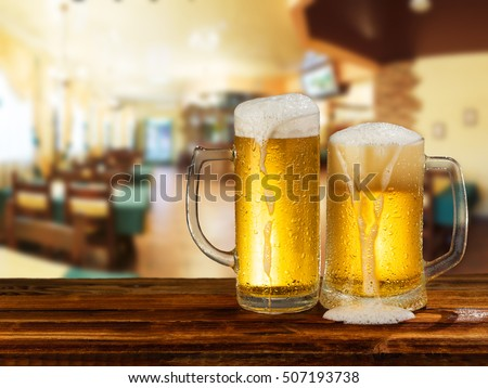 cold light beer mug in a pub
