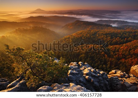 Cold misty foggy morning with sunrise in a fall valley of Bohemian Switzerland park. Hills with fog, landscape of Czech Republic, beautiful national park Ceske Svycarsko - stock photo