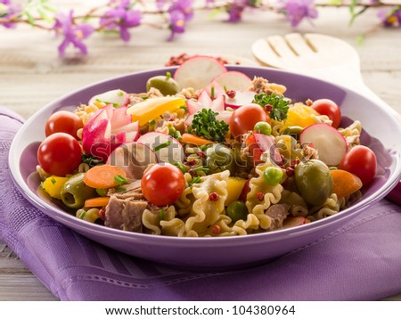 cold mixed pasta salad with tuna - stock photo
