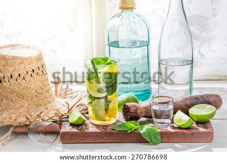 Cold mojito in glass