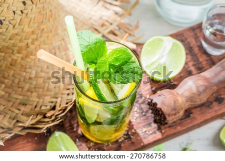 Cold mojito with mint leaf