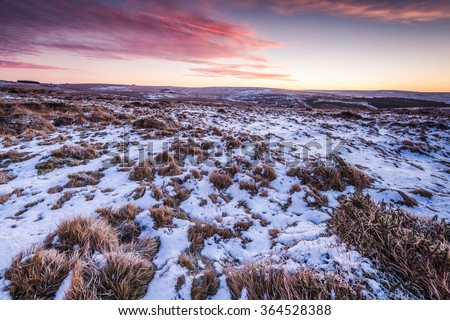 Cold morning sunrise in Dartmoor National Park, UK. - stock photo