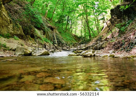 cold mountain creek in the Crimean mountains - stock photo
