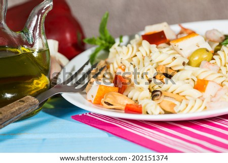 Cold Pasta Salad typical Mediterranean food