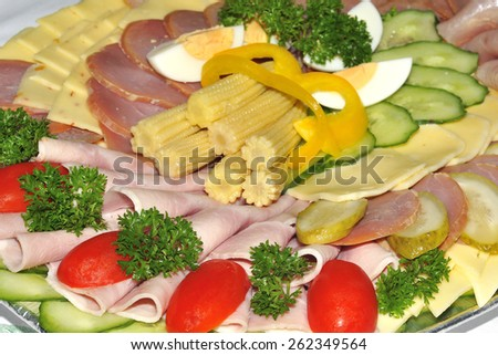 Cold plate with decoration. - stock photo