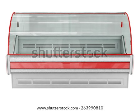 Cold showcase isolated on white - stock photo