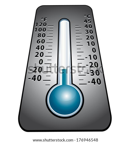 Cold snap. Thermometer icon. - stock photo