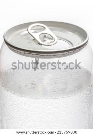 Cold Soda water Transparent Can Closeup - stock photo