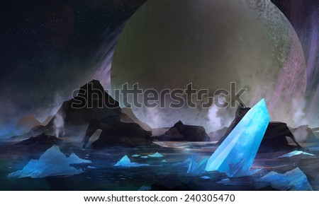 Cold solar system planet. Cold space planet with blue crystal elements on a surface scenery illustration. - stock photo