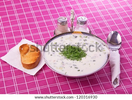 Cold soup, cloth, toast, salt and pepper shakers - stock photo