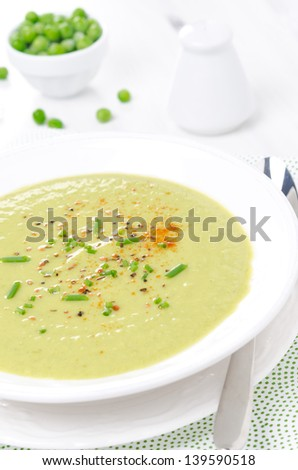 cold soup of green peas with yogurt vertical