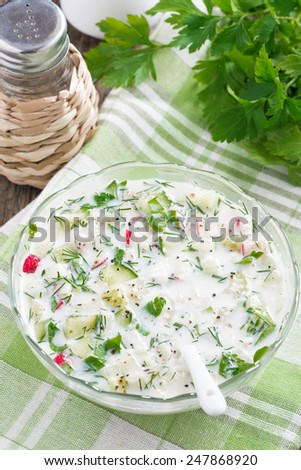 cold soup with fresh vegetables and kefir (okroshka), top view, vertical - stock photo