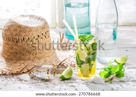 Cold summer drink with mint leaf