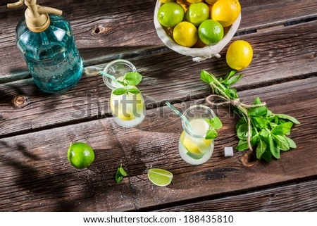 Cold summer lemonade with fresh fruit - stock photo