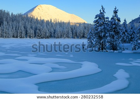Cold sunrise landscape in the Uinta Mountains, Utah, USA.