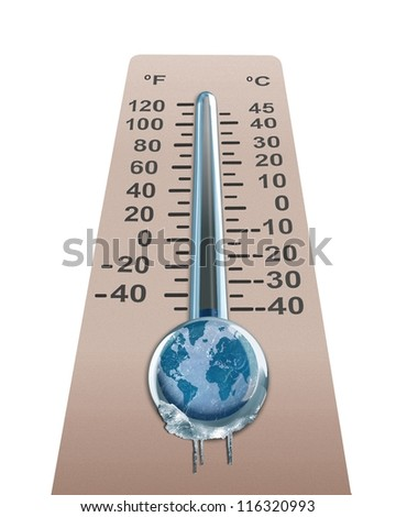 Cold temperature of the  earth.  Elements of this image furnished by NASA