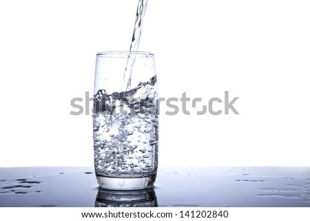 Cold water being poured into a glass