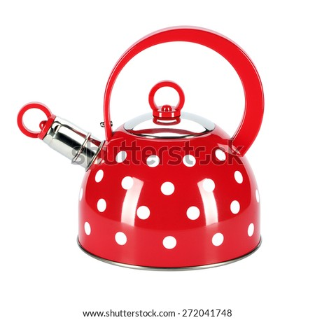 Cold water heating, traditional metal containers used for boiling. The source of the water indicates sharp squeaky voice. - stock photo