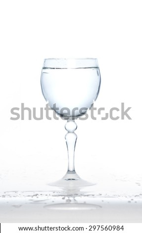 cold water on a glass on white background,glass of water
