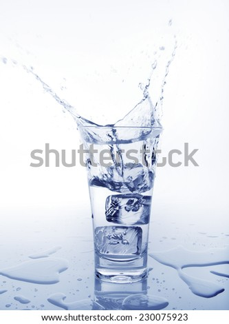 Cold Water pouring in glass