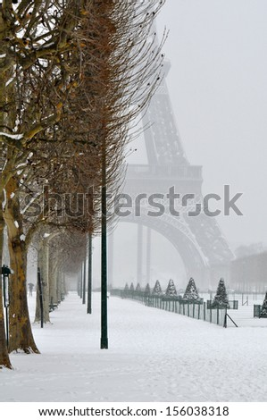 Cold winter day in Paris - stock photo