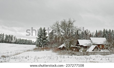 cold winter in the village - stock photo